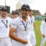 Alastair Cook leads England on their lap of honour,