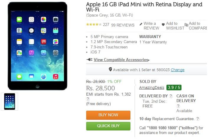 Buy Apple iPad Air 2 and iPad Mini 3 on Flipkart.com and Infibeam