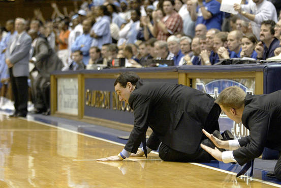 Duke Basketball team slaps floor as an inspiration to inculcate defensive tactics