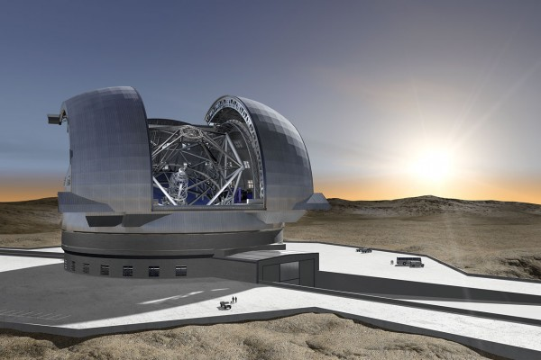 """This new artist's impression shows the future European Extremely Large Telescope (E-ELT), which is currently being planned by ESO. This revolutionary new ground-based telescope will be the largest optical/near-infrared telescope ever conceived, and will serve as """"the world's biggest eye on the sky"""".  The present concept is for a telescope with a mirror 39 metres in diameter, able to capture images of the sky about a tenth the size of the full Moon. The telescope will contain five mirrors, a novel configuration that results in exceptional image quality. The largest (primary) mirror will consist of almost 800 segments, each 1.4 metres wide but only 50 mm thick. The optical system's design also calls for an immense secondary mirror measuring 4.2 metres in diameter, which is almost as large as the biggest primary mirrors used in today's telescopes.  With the start of operations planned early in the next decade, the E-ELT will tackle the biggest scientific challenges of our time. The massive telescope will take aim at a number of notable astronomical firsts, including tracking down Earth-like planets orbiting other stars in the """"habitable zones"""" where life could exist — one of the hottest topics of modern observational astronomy. It will also perform """"stellar archaeology"""" in nearby galaxies and make fundamental contributions to cosmology by measuring the properties of the first stars and galaxies. In addition, the E-ELT will probe the nature of dark matter and dark energy. During these scientific quests, astronomers eagerly anticipate some unexpected twists — new and unforeseeable questions will surely arise from discoveries made with the E-ELT. The design for the E-ELT shown here was published in 2009 and is preliminary.Other E-ELT images are also available on this link."""
