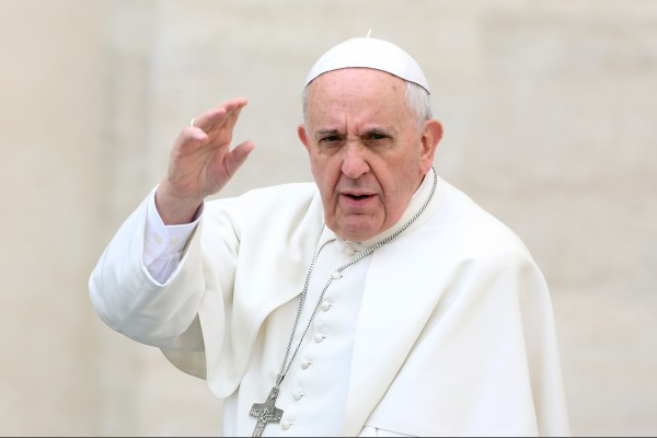 VATICAN CITY, VATICAN - MARCH 19:  Pope Francis waves to the faithful as he holds his weekly audience in St. Peter's Square on March 19, 2014 in Vatican City, Vatican. Pope Francis celebrated the Feast of St. Joseph by saying the saint is a model for all fathers and educators.  (Photo by Franco Origlia/Getty Images)