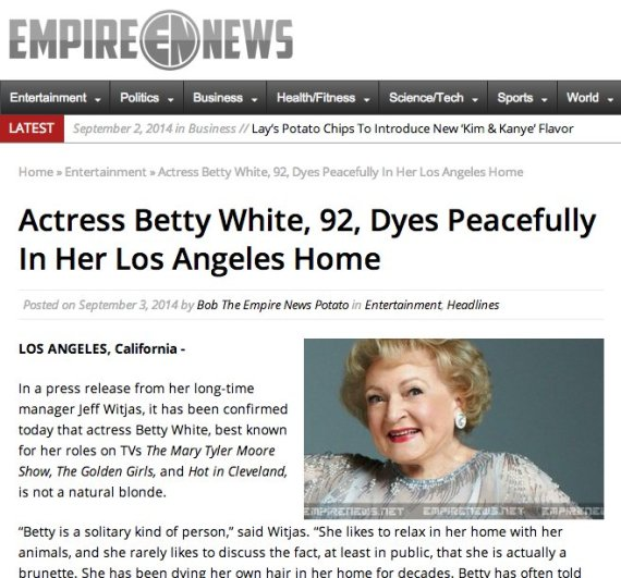 Betty White 'dyes' and is not dead