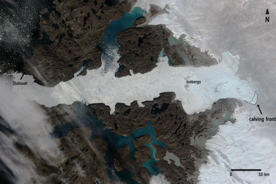 Massive Glacier calf in Greenland's Jakobshavn Glacier spotted from Space